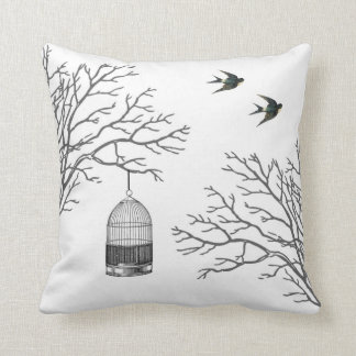 Vintage Birdcage Bare Branches Swallows Pillow