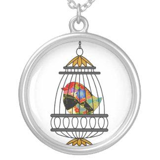 Vintage Birdcage Bird Necklace