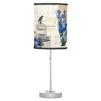 Vintage Birdcage Blue Bird French Ephemera Lamp