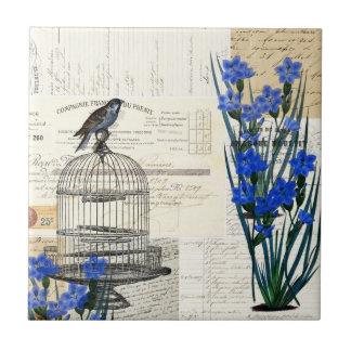 Vintage Birdcage Blue Flowers French Tile Trivet