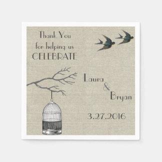 Vintage Birdcage Branches Swallow Linen Wedding Paper Napkin