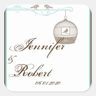 Vintage Birdcage Brown Aqua Wedding Envelope Seal