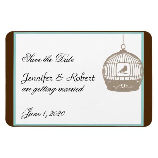 Vintage Birdcage Brown Aqua Wedding Save the Date Magnet