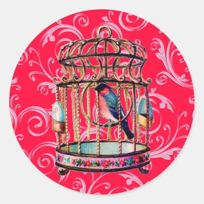 Vintage Birdcage Classic Round Sticker