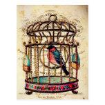 Vintage Birdcage French Paper Art Postcard