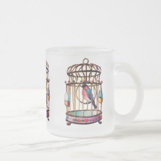 Vintage Birdcage Frosted Glass Coffee Mug