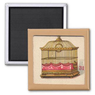 Vintage Birdcage Game Card Fridge Magnets