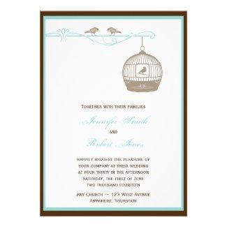 Vintage Birdcage in Brown Aqua Wedding Invitation