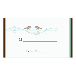 Vintage Birdcage in Brown Aqua Wedding Place Cards Business Card Template