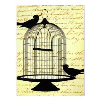 "Vintage birdcage 6.5"" x 8.75"" invitation card"