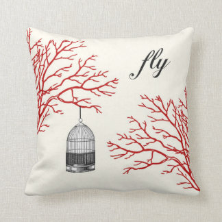 """Vintage Birdcage Red Branches """"fly"""" Pillow"""