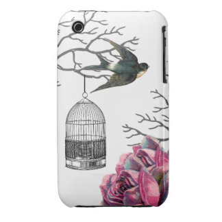 Vintage Birdcage Roses Swallow iPhone 3 Cases
