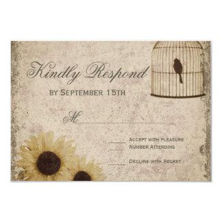 Vintage Birdcage Rustic Sunflowers Wedding RSVP Card