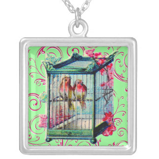 Vintage Birdcage Silver Plated Necklace