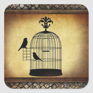 vintage birdcage stamp. square sticker