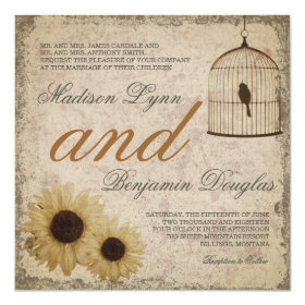 Vintage Birdcage Sunflowers Rustic Wedding Invite