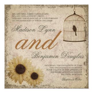Vintage Birdcage Sunflowers Rustic Wedding Invite
