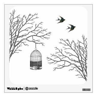 Vintage Birdcage Swallow Wall Decal