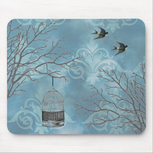 Vintage Birdcage Swallows French Blue Mouse Pad