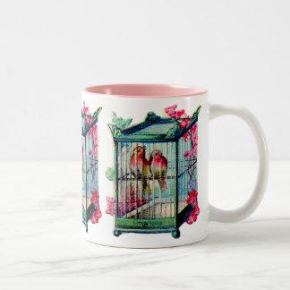 Vintage Birdcage Two-Tone Coffee Mug