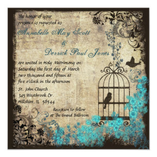Vintage Birdcage Wedding Invitations Announcements Zazzle