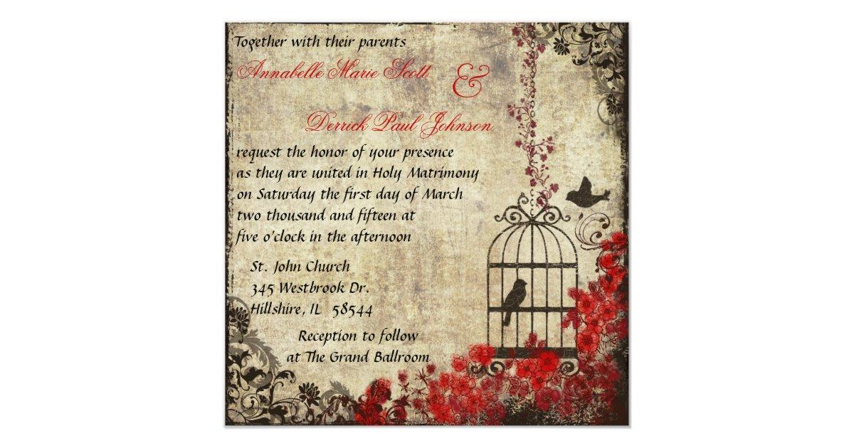 Wedding Invitations Birdcage: Vintage Birdcage Wedding Invitation Red