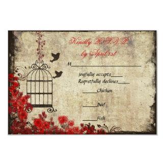 Vintage Birdcage Wedding RSVP Red 3.5x5 Paper Invitation Card