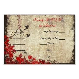 Vintage Birdcage Wedding RSVP Red Card