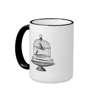 Vintage Birdcage with Birds...mug Ringer Mug