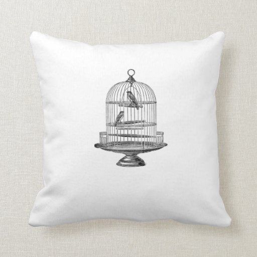 Vintage Birdcage with Birds...pillow