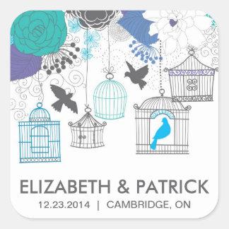 Vintage Birdcages and Flowers Wedding Sticker Square Sticker