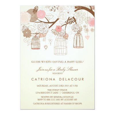 Pink flowers and birdcages baby shower invitations zazzle filmwisefo Image collections