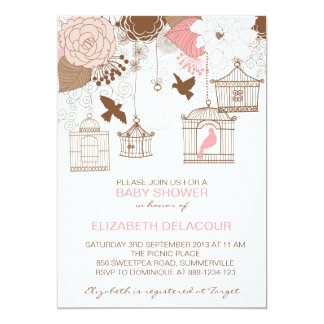 "Vintage Birdcages & Flowers Baby Shower Invitation 5"" X 7"" Invitation Card"