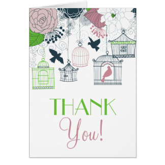 Vintage Birdcages Spring Floral Thank You Card