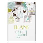 Vintage Birdcages Spring Flowers Thank You Card