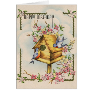 Vintage Birdhouse Birthday Card
