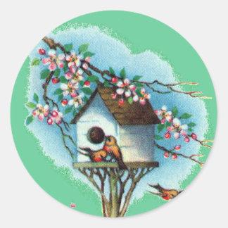Vintage Birdhouse Classic Round Sticker