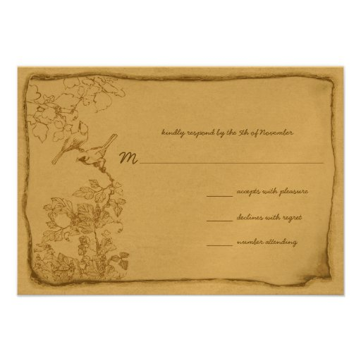 Vintage Birds Aged Parchment Wedding Invitations