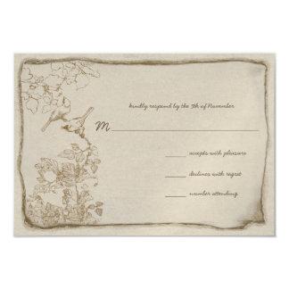 "Vintage Birds Aged Parchment Wedding Invitations 3.5"" X 5"" Invitation Card"