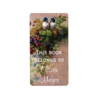 Vintage Birds and Berries Bookplate