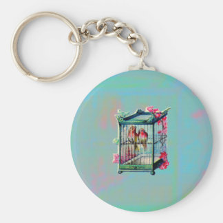 Vintage Birds and Bird Cage Keychain