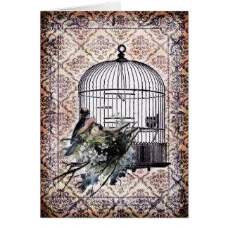 Vintage Birds and Birdcage Card