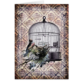 Vintage Birds and Birdcage Greeting Card