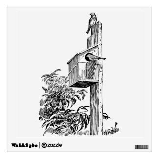 Vintage Birds and Birdhouse Wall Decal