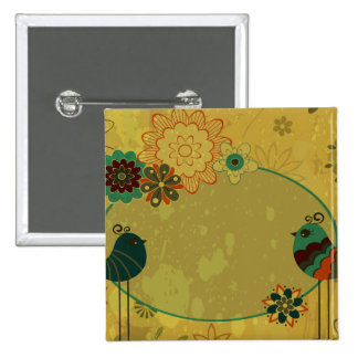 vintage birds and floral design buttons