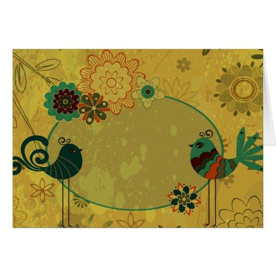 vintage birds and floral design card