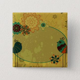 vintage birds and floral design pinback button