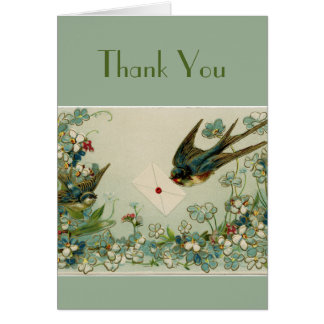 Vintage Birds and Flowers Dark Green Thank You Card