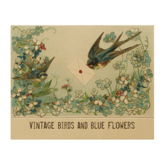 Vintage Birds and Flowers Light Yellow Wood Wall Art