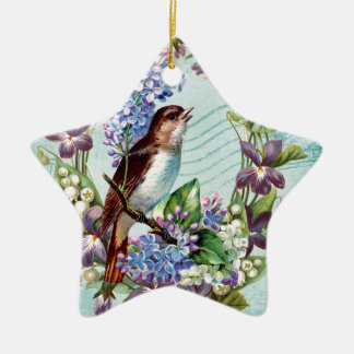 Vintage Birds and Flowers on Blue Ceramic Ornament